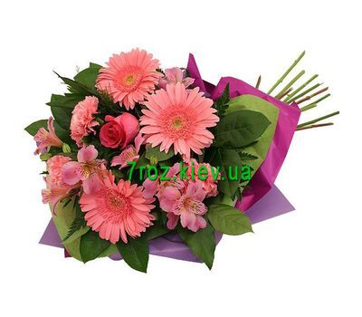 """Bouquet of flowers from 3 gerberas, 3 alstroemerias, 3 carnations and 1 roses"" in the online flower shop 7roz.kiev.ua"