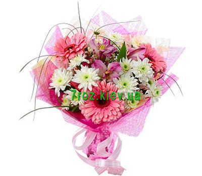 """Bouquet of flowers from 3 gerberas, 3 alstroemerias and 3 chrysanthemums"" in the online flower shop 7roz.kiev.ua"