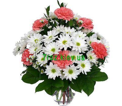 """""""Букет цветов из 6 гвоздик и 9 хризантем"""" в интернет-магазине цветов 7roz.kiev.ua"""