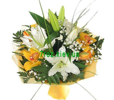"""""""Bouquet of flowers from 2 lilies and 5 orchids"""" in the online flower shop 7roz.kiev.ua"""