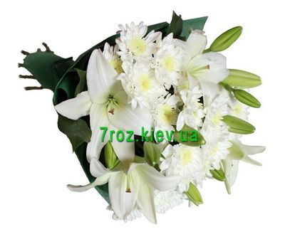 """Bouquet of 2 lilies and 3 chrysanthemums"" in the online flower shop 7roz.kiev.ua"
