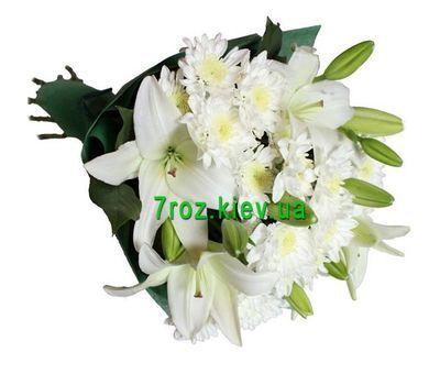 """""""Букет из 2 лилий и 3 хризантем"""" в интернет-магазине цветов 7roz.kiev.ua"""
