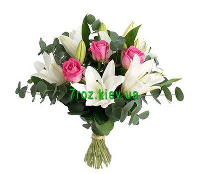 """""""Букет из 4 лилий и розовых роз"""" в интернет-магазине цветов 7roz.kiev.ua"""