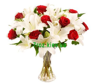 """Bouquet of 7 lilies and 11 roses"" in the online flower shop 7roz.kiev.ua"