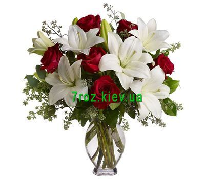"""Bouquet of flowers from 7 roses and 2 lilies"" in the online flower shop 7roz.kiev.ua"