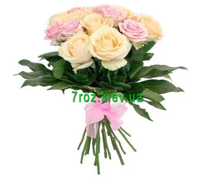 """Bouquet of 15 multi-colored roses"" in the online flower shop 7roz.kiev.ua"