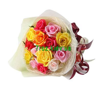 """Bouquet of 15 different-colored roses"" in the online flower shop 7roz.kiev.ua"