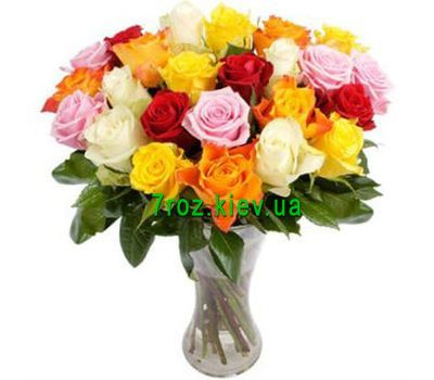 """Bouquet of 21 multi-colored roses"" in the online flower shop 7roz.kiev.ua"