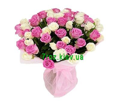 """Bouquet of flowers from 55 multi-colored roses"" in the online flower shop 7roz.kiev.ua"