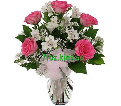 """Bouquet of flowers from 5 roses and 4 alstroemerias"" in the online flower shop 7roz.kiev.ua"