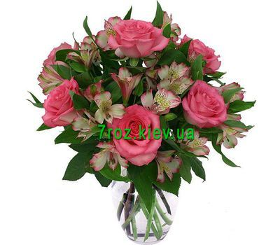 """Bouquet of 7 roses and 8 alstroemerias"" in the online flower shop 7roz.kiev.ua"