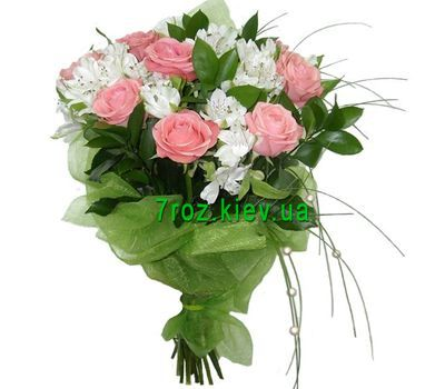 """Bouquet of flowers from 9 roses and 10 alstroemerias"" in the online flower shop 7roz.kiev.ua"