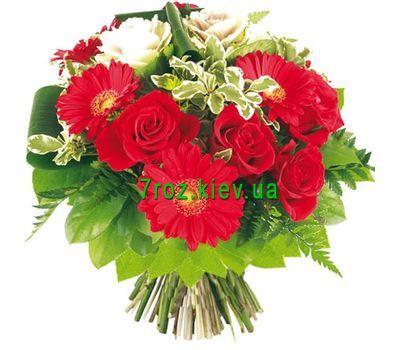 """""""Букет цветов из 6 роз и 3 гербер"""" в интернет-магазине цветов 7roz.kiev.ua"""