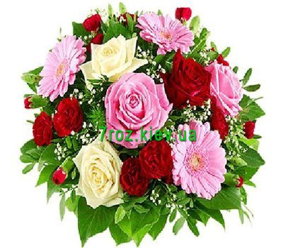 """Bouquet of flowers from 9 roses, 3 gerberas and 7 carnations"" in the online flower shop 7roz.kiev.ua"