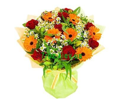 """Bouquet of flowers of 9 roses, 7 gerberas and 5 alstroemerias"" in the online flower shop 7roz.kiev.ua"