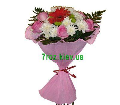 """""""Букет из 6 роз, 4 хризантемы и 1 гербера"""" в интернет-магазине цветов 7roz.kiev.ua"""