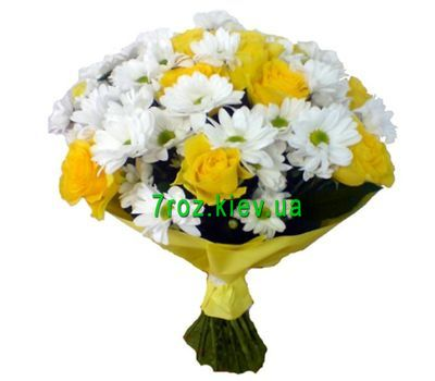 """Bouquet of 11 roses and 6 chrysanthemums"" in the online flower shop 7roz.kiev.ua"