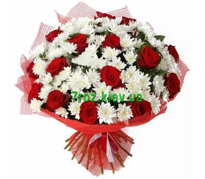 """Bouquet of flowers from 15 roses and 12 chrysanthemums"" in the online flower shop 7roz.kiev.ua"