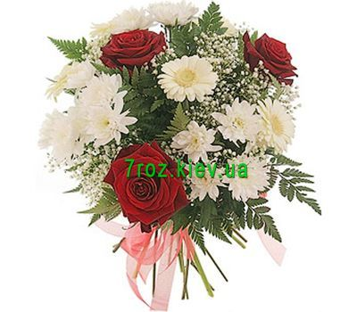 """Bouquet of flowers from 3 roses, 3 chrysanthemums and 3 gerberas"" in the online flower shop 7roz.kiev.ua"