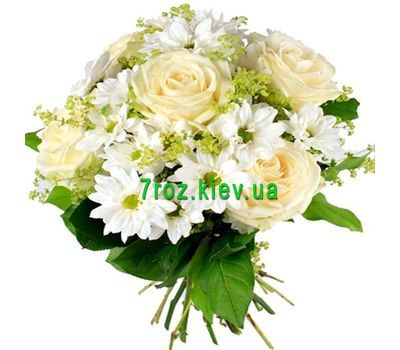 """Bouquet of flowers from 5 roses and 6 chrysanthemums"" in the online flower shop 7roz.kiev.ua"