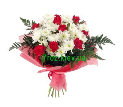 """Bouquet of flowers from 9 roses and 8 chrysanthemums"" in the online flower shop 7roz.kiev.ua"