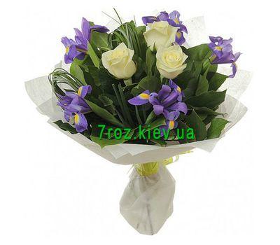 """""""Букет цветов из 3 роз и 8 ирисов"""" в интернет-магазине цветов 7roz.kiev.ua"""