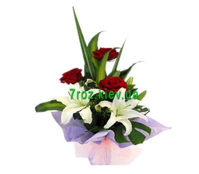 """Bouquet of flowers from 3 roses and 1 lily"" in the online flower shop 7roz.kiev.ua"