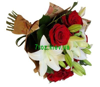 """Bouquet of 7 roses and 2 lilies"" in the online flower shop 7roz.kiev.ua"