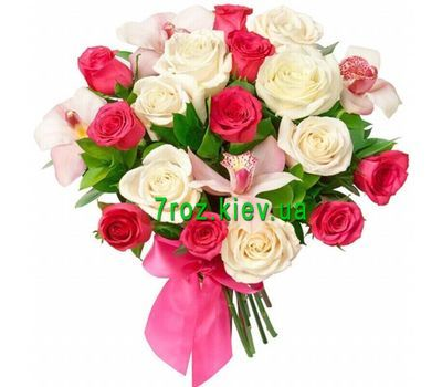 """Bouquet of flowers from 17 roses and 4 orchids"" in the online flower shop 7roz.kiev.ua"