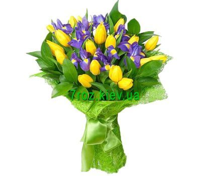 """Bouquet of flowers from 19 tulips and 10 irises"" in the online flower shop 7roz.kiev.ua"