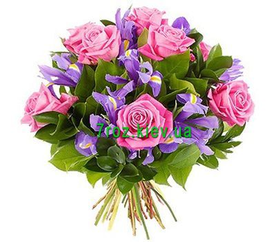 """""""Bouquet of flowers from roses and irises"""" in the online flower shop 7roz.kiev.ua"""