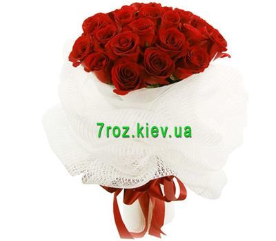 """Bouquet of 25 red roses flowers"" in the online flower shop 7roz.kiev.ua"
