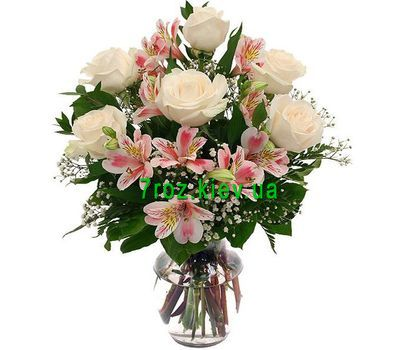 """Bouquet of flowers from 6 roses and 5 alstroemerias"" in the online flower shop 7roz.kiev.ua"