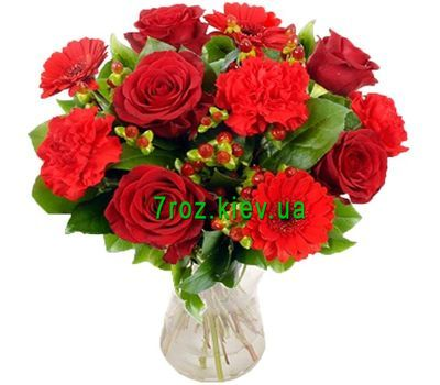 """Bouquet of flowers from 6 roses, 4 carnations and 3 gerberas"" in the online flower shop 7roz.kiev.ua"