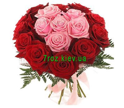 """Bouquet of flowers of 17 red and pink roses"" in the online flower shop 7roz.kiev.ua"