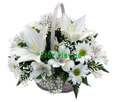 """Basket of 1 lilies, 7 chrysanthemums and 7 alstromeries"" in the online flower shop 7roz.kiev.ua"