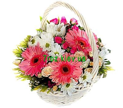"""Basket of 6 roses, 5 chrysanthemums and 3 gerberas"" in the online flower shop 7roz.kiev.ua"