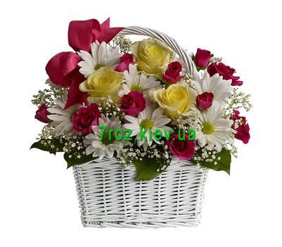 """Basket of 8 chrysanthemums and 11 roses"" in the online flower shop 7roz.kiev.ua"