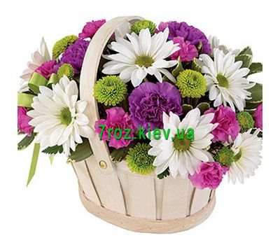 """Basket of 8 chrysanthemums and 9 carnations"" in the online flower shop 7roz.kiev.ua"