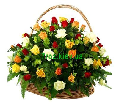 """Basket of 51 different colored roses"" in the online flower shop 7roz.kiev.ua"