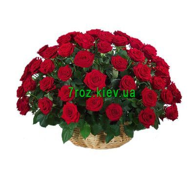 """Basket of 51 red roses"" in the online flower shop 7roz.kiev.ua"