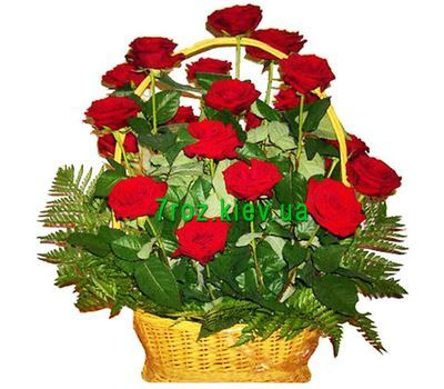 """Basket of flowers from 21 red roses"" in the online flower shop 7roz.kiev.ua"