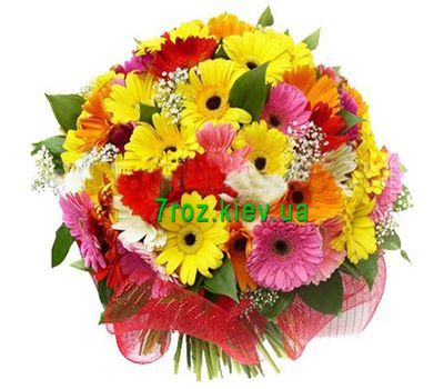 """Bouquet of flowers from 45 multi-colored gerberas"" in the online flower shop 7roz.kiev.ua"