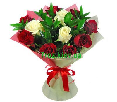 """Bouquet of 11 red and white roses"" in the online flower shop 7roz.kiev.ua"