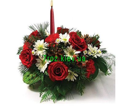 """New Year's composition with candles"" in the online flower shop 7roz.kiev.ua"