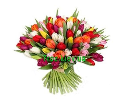 """Bouquet of flowers from 101 tulips"" in the online flower shop 7roz.kiev.ua"