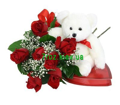 """Bouquet of 7 red roses with a soft toy Bear"" in the online flower shop 7roz.kiev.ua"