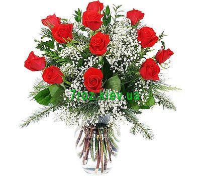 """Winter bouquet of flowers from roses and alstromeries"" in the online flower shop 7roz.kiev.ua"