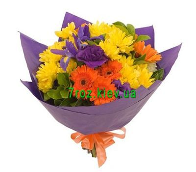 """Bouquet of 5 gerberas, 5 chrysanthemums and 5 irises"" in the online flower shop 7roz.kiev.ua"