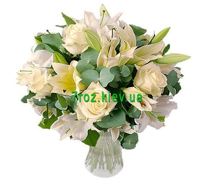 """Bouquet of flowers from 5 roses and 3 lilies"" in the online flower shop 7roz.kiev.ua"